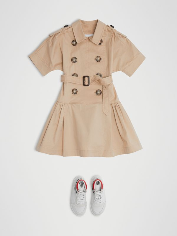 Stretch Cotton Trench Dress in Honey | Burberry - cell image 2
