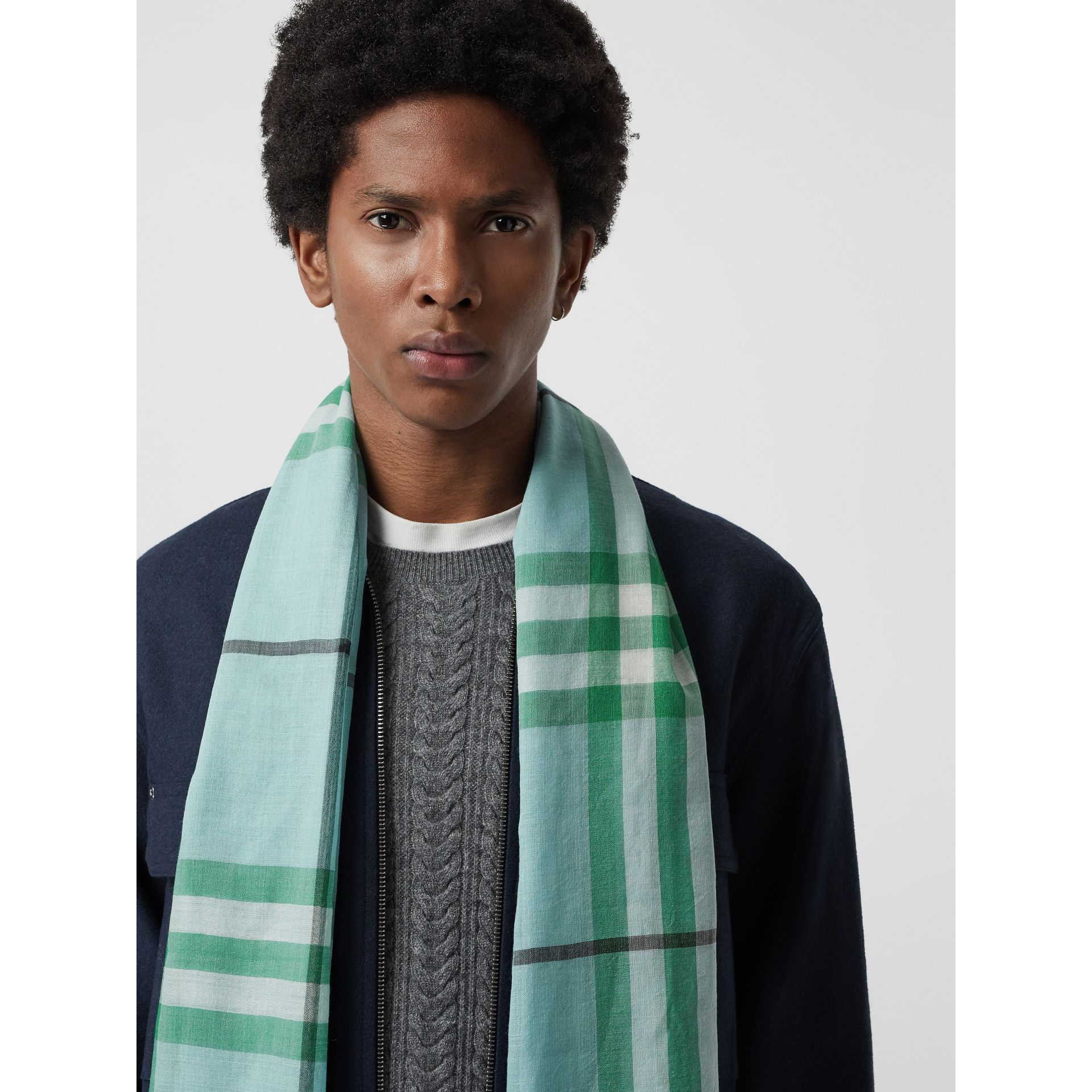 Lightweight Check Wool and Silk Scarf in Pale Peridot Blue | Burberry United Kingdom - gallery image 4