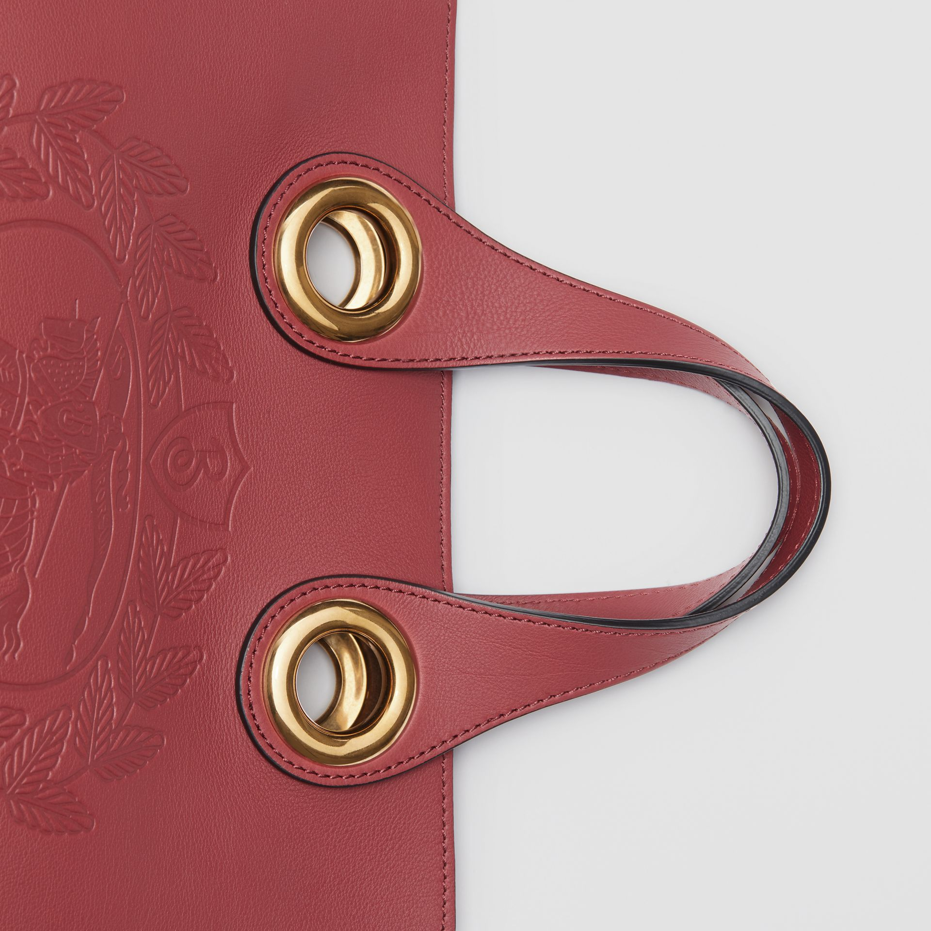 The Leather Crest Grommet Detail Tote in Crimson - Women | Burberry - gallery image 1