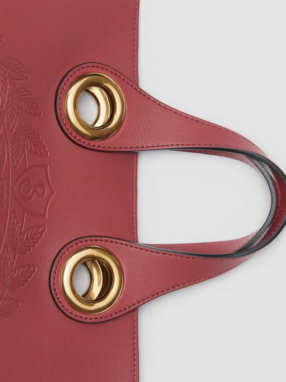 The Leather Crest Grommet Detail Tote in Crimson - Women | Burberry Australia - cell image 1