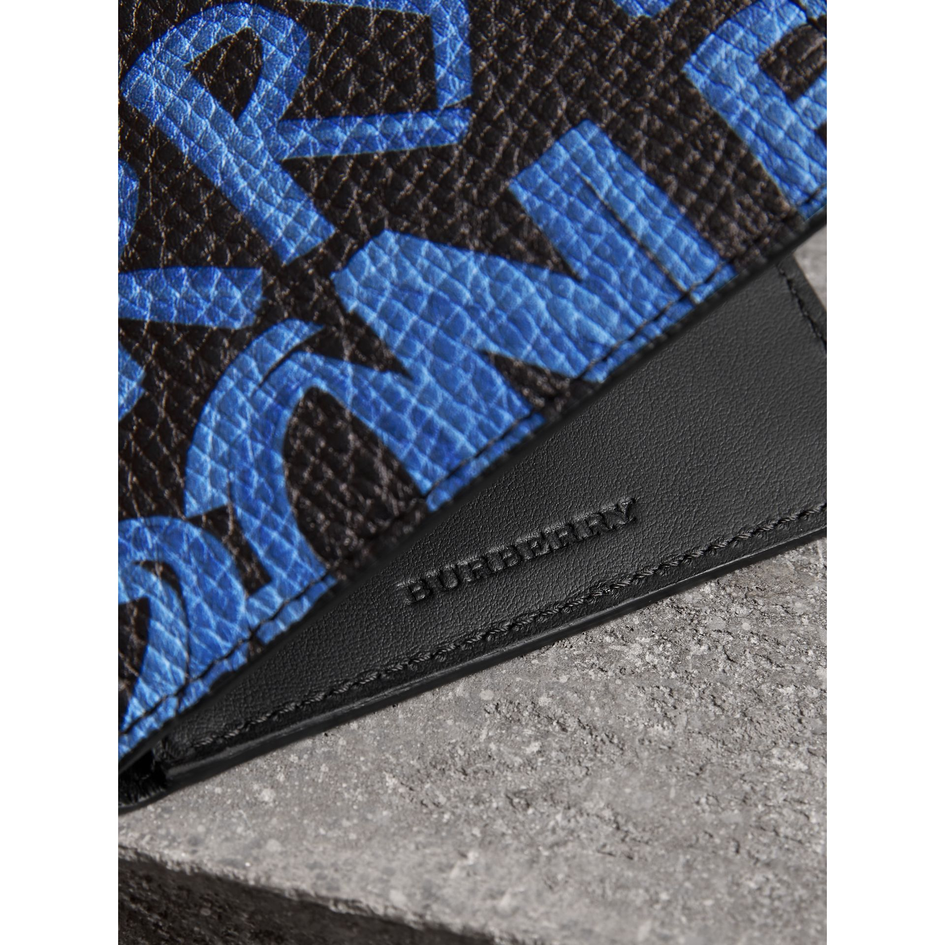 Graffiti Print Leather International Bifold Wallet in Blue/black - Men | Burberry Australia - gallery image 1