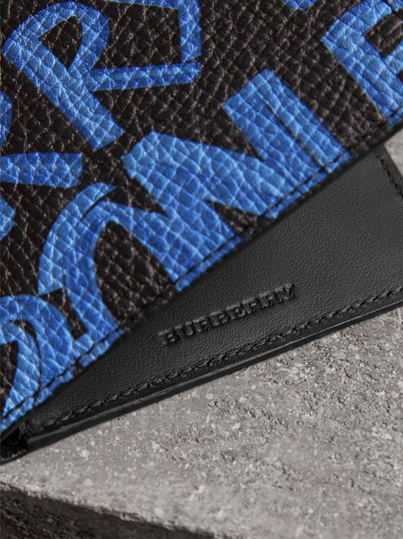 Graffiti Print Leather International Bifold Wallet in Blue/black - Men | Burberry United Kingdom - cell image 1