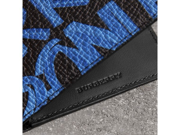 Graffiti Print Leather International Bifold Wallet in Blue/black - Men | Burberry Hong Kong - cell image 1