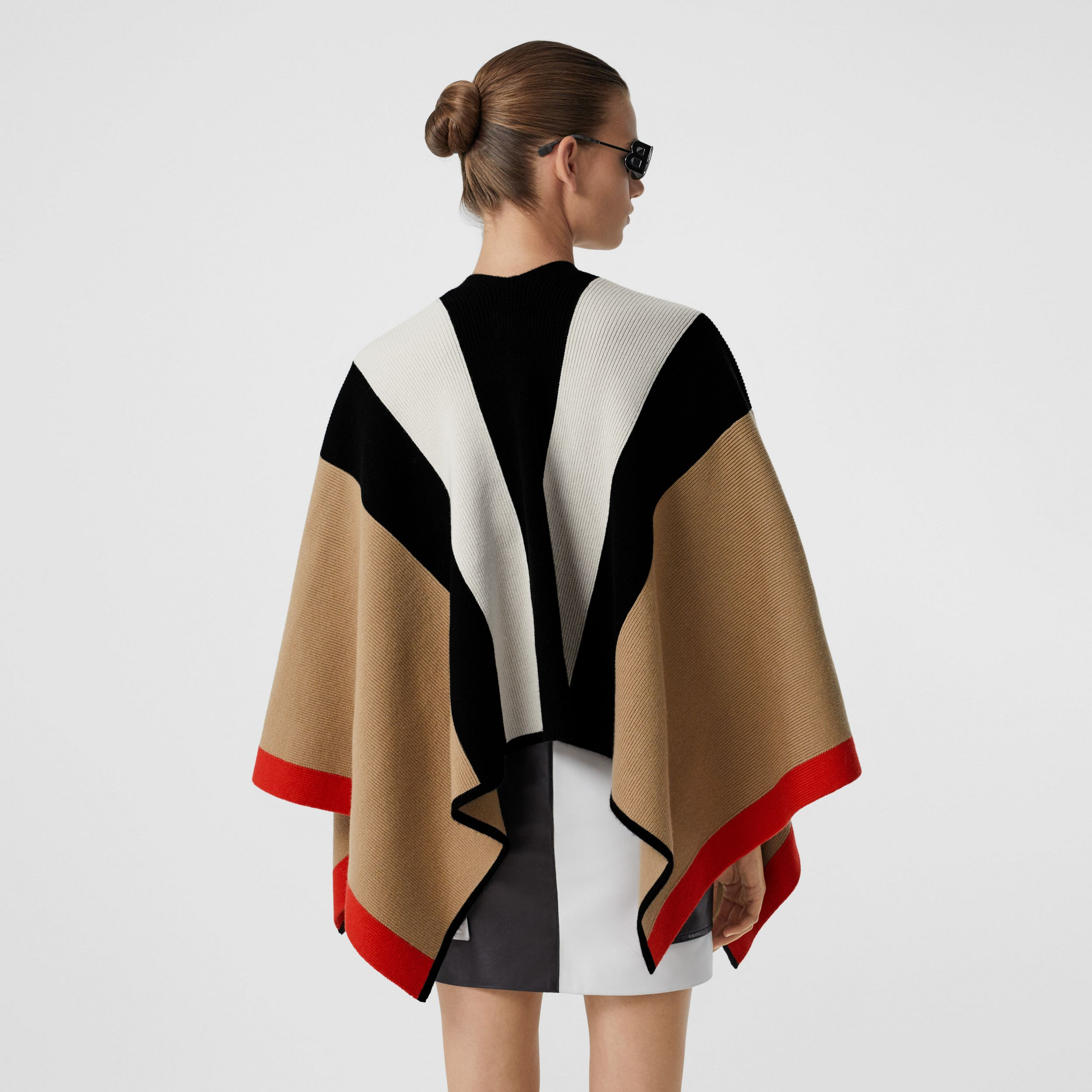 Striped Wool Cashmere Cape in Archive Beige - Women | Burberry - 3