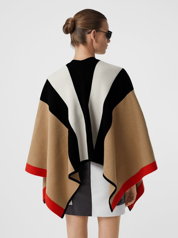 Striped Wool Cashmere Cape in Archive Beige - Women | Burberry - cell image 2