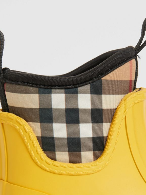 Vintage Check Neoprene and Rubber Rain Boots in Vibrant Lemon - Children | Burberry Australia - cell image 1