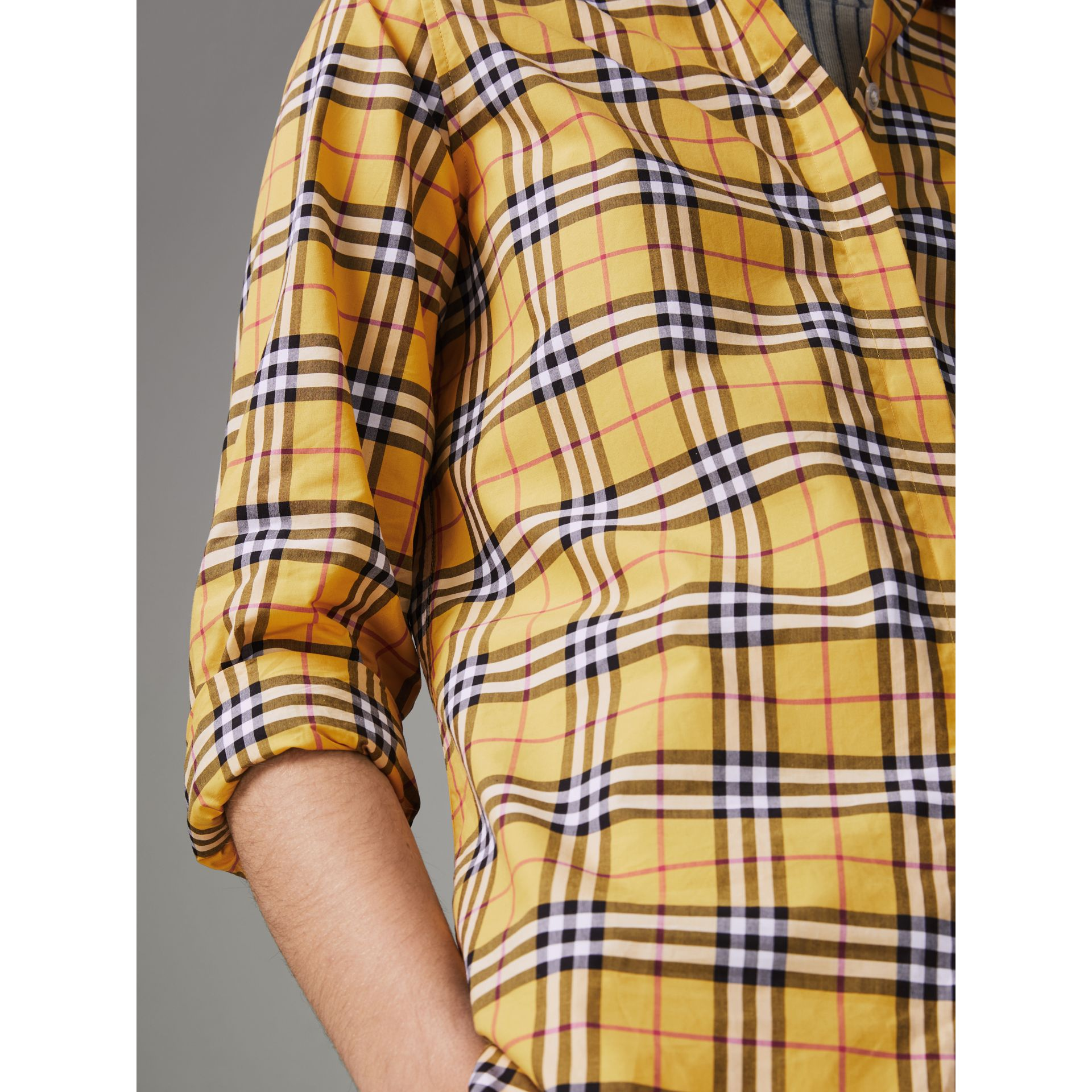 Check Cotton Shirt in Bright Ochre Yellow - Women | Burberry - gallery image 1
