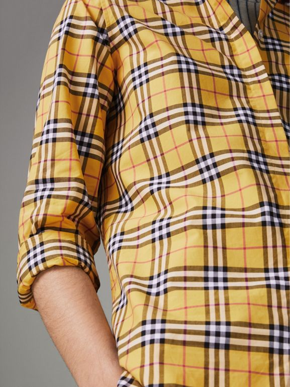 Check Cotton Shirt in Bright Ochre Yellow - Women | Burberry - cell image 1