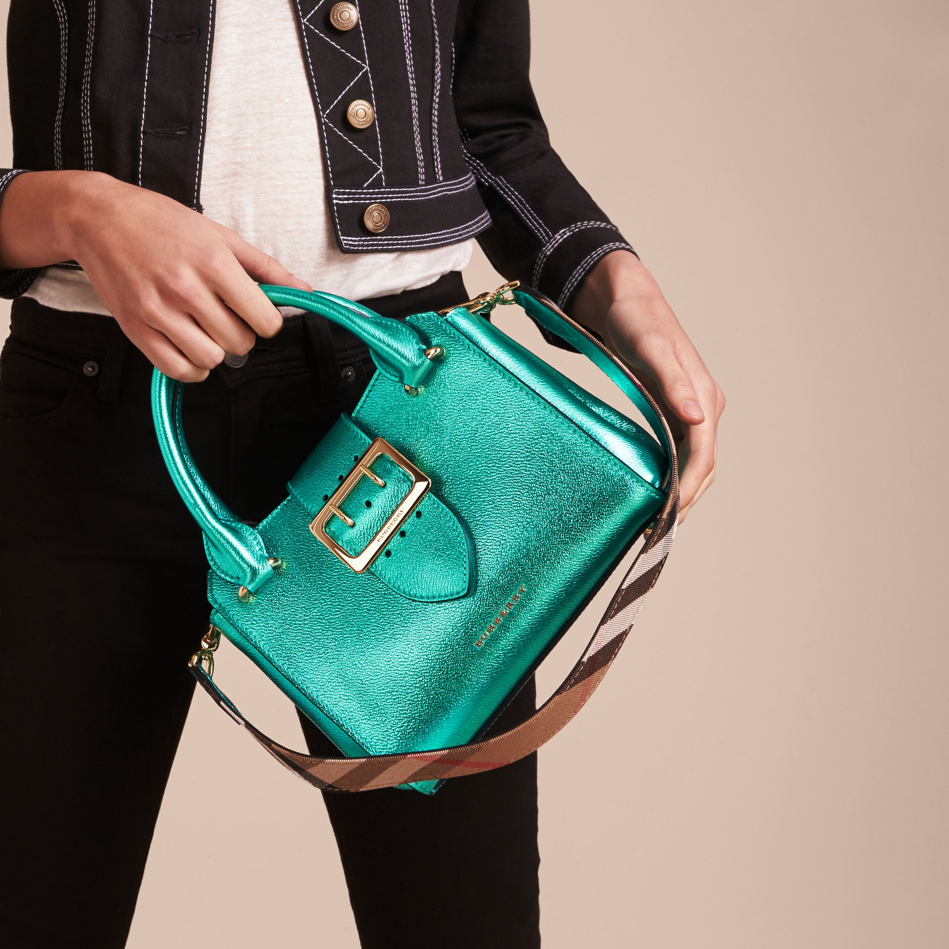 The Small Buckle Tote in Metallic Leather Emerald - gallery image 4