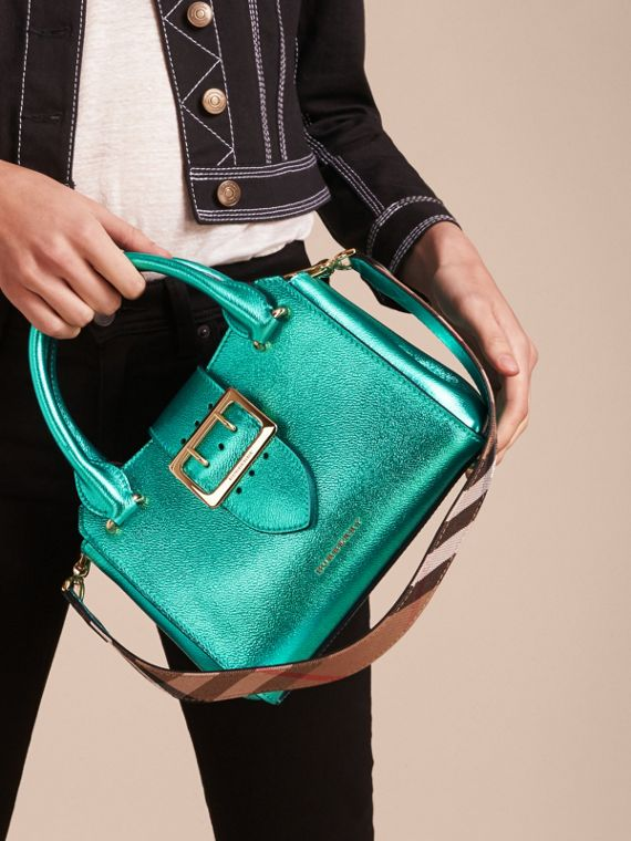 The Small Buckle Tote in Metallic Leather in Emerald - cell image 3