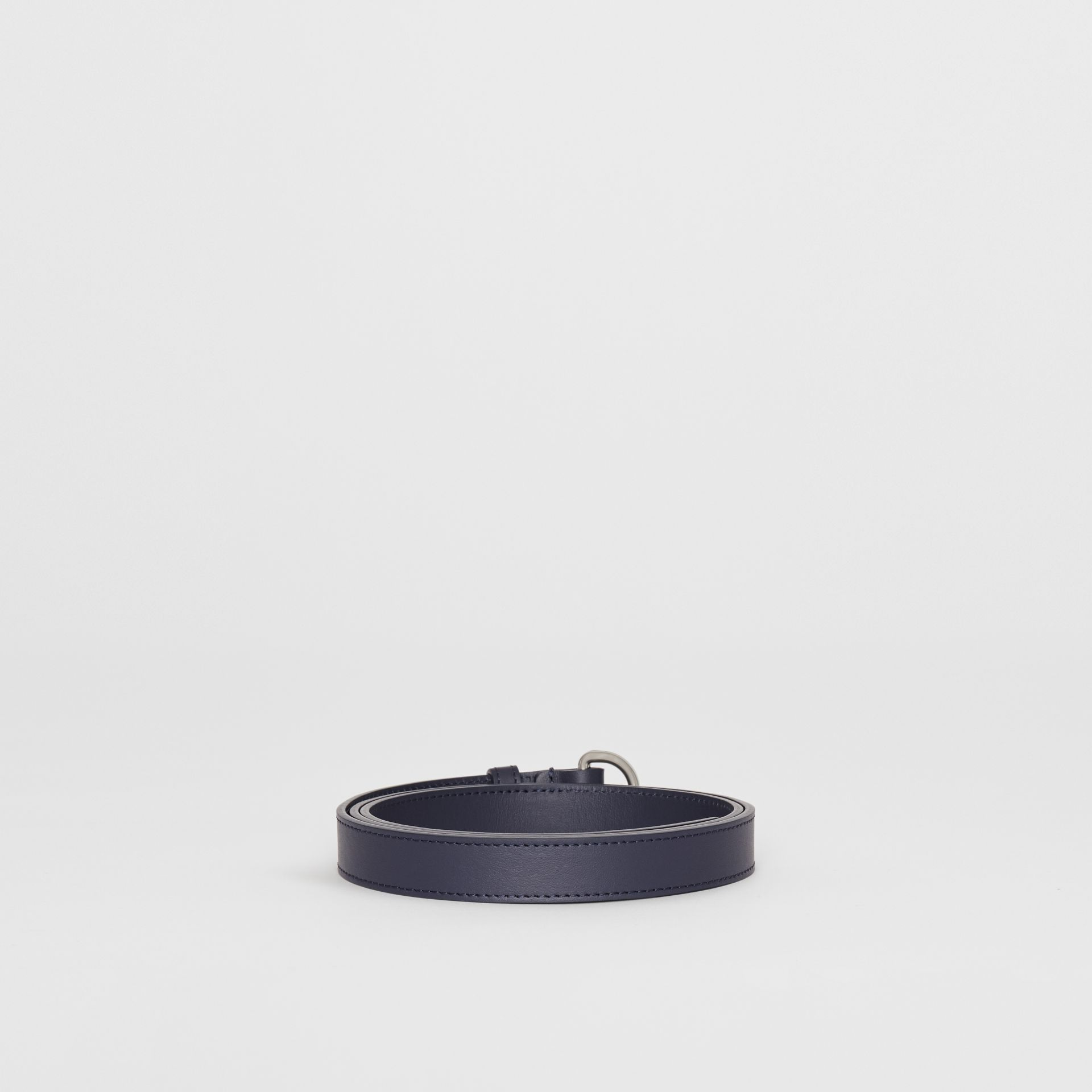 Slim Leather Double D-ring Belt in Regency Blue - Women | Burberry - gallery image 4