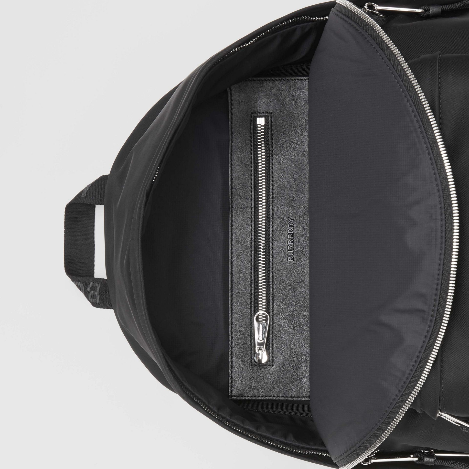 Logo Print Nylon Backpack in Black | Burberry - gallery image 4
