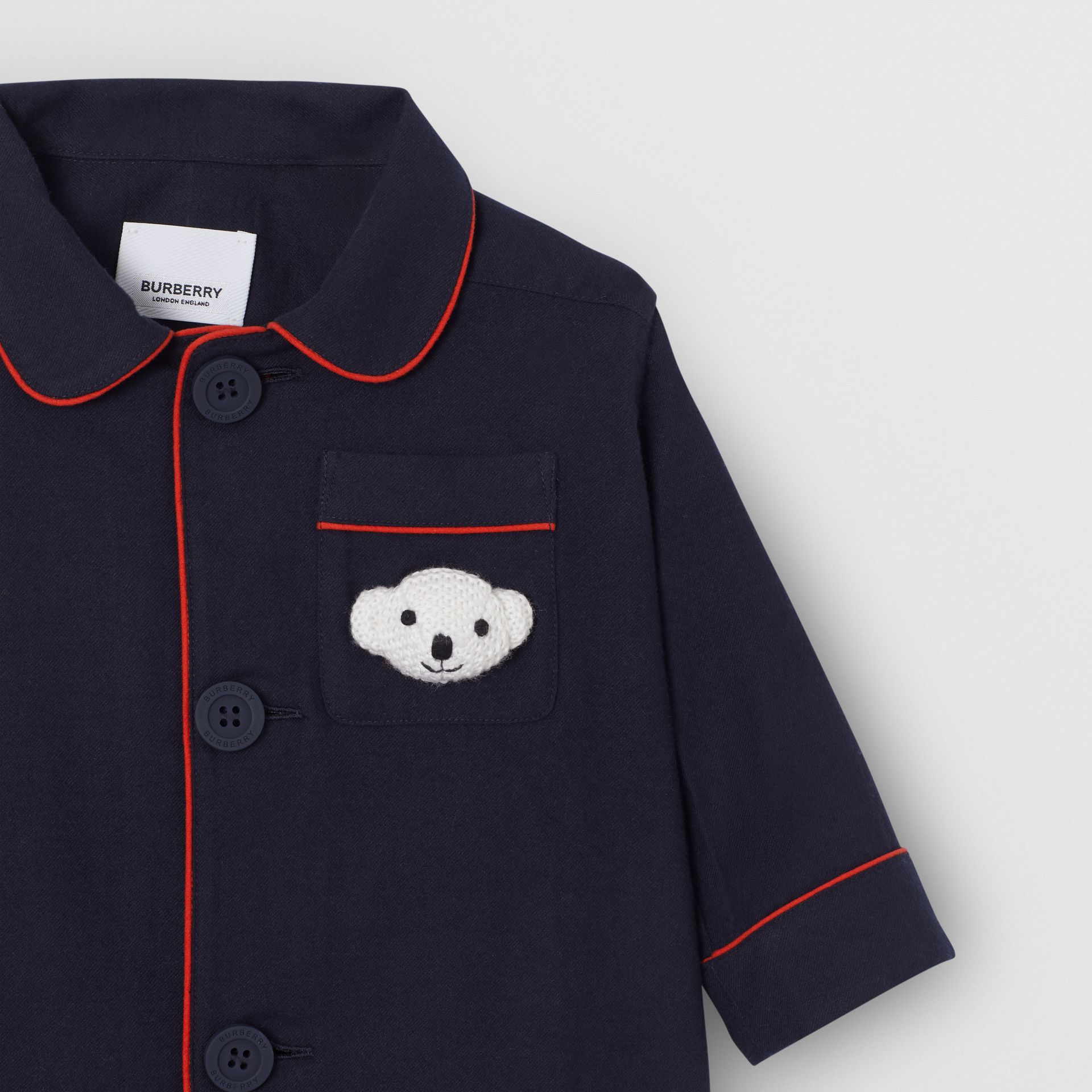 Thomas Bear Detail Cotton Flannel Pyjama Shirt in Navy - Children | Burberry - gallery image 4