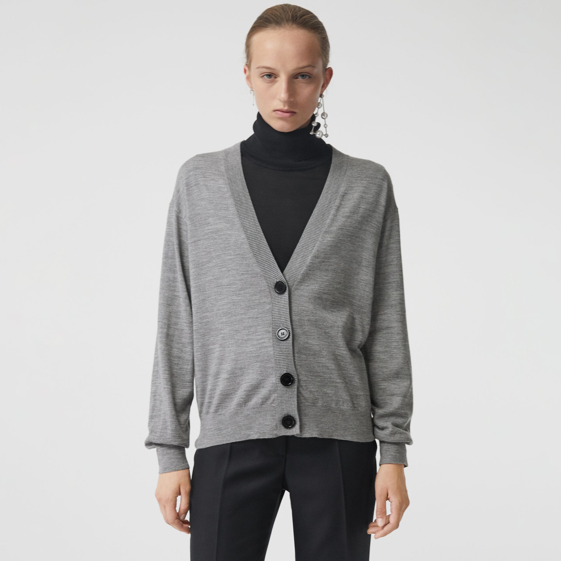 Vintage Check Detail Merino Wool Cardigan in Grey Melange - Women | Burberry Singapore - gallery image 4