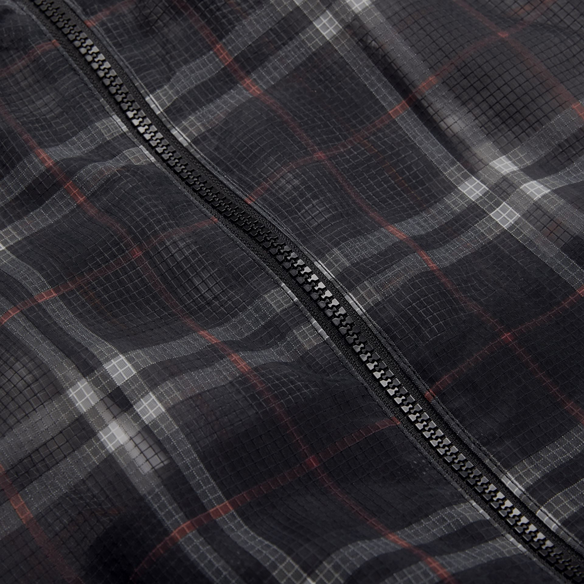 Vintage Check Nylon Hooded Jacket in Black | Burberry United Kingdom - gallery image 1