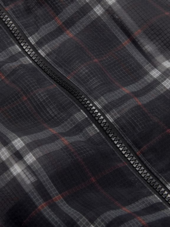 Vintage Check Nylon Hooded Jacket in Black | Burberry - cell image 1