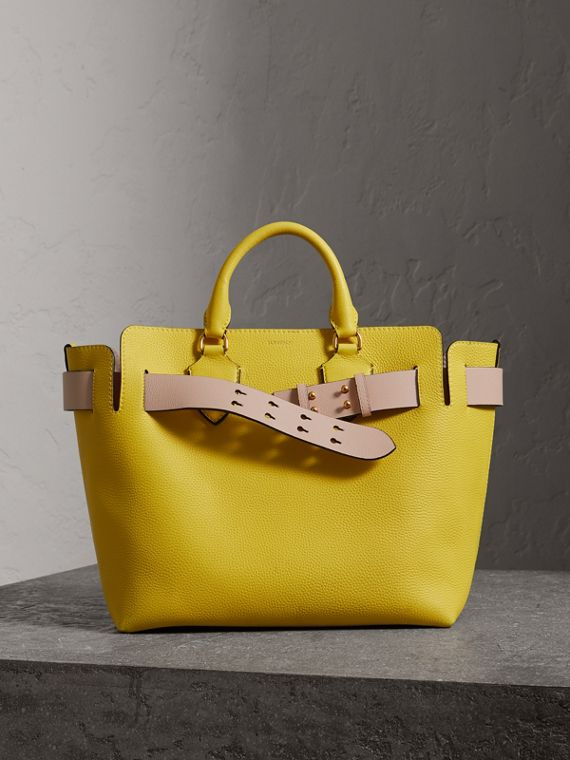 Borsa The Belt media in pelle (Giallo Larice Intenso)