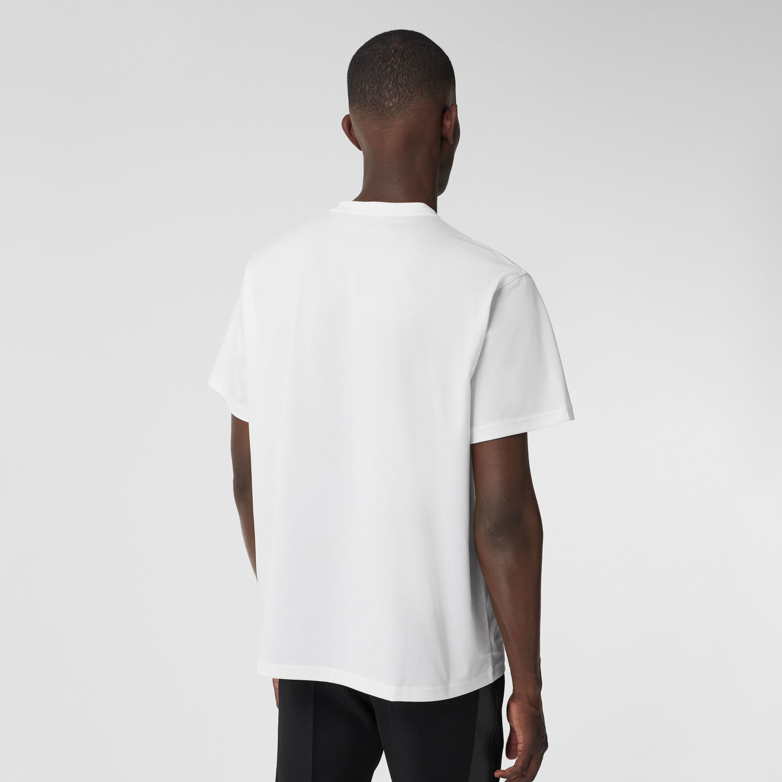 Logo Graphic Cotton Oversized T-shirt in White - Men | Burberry - 3