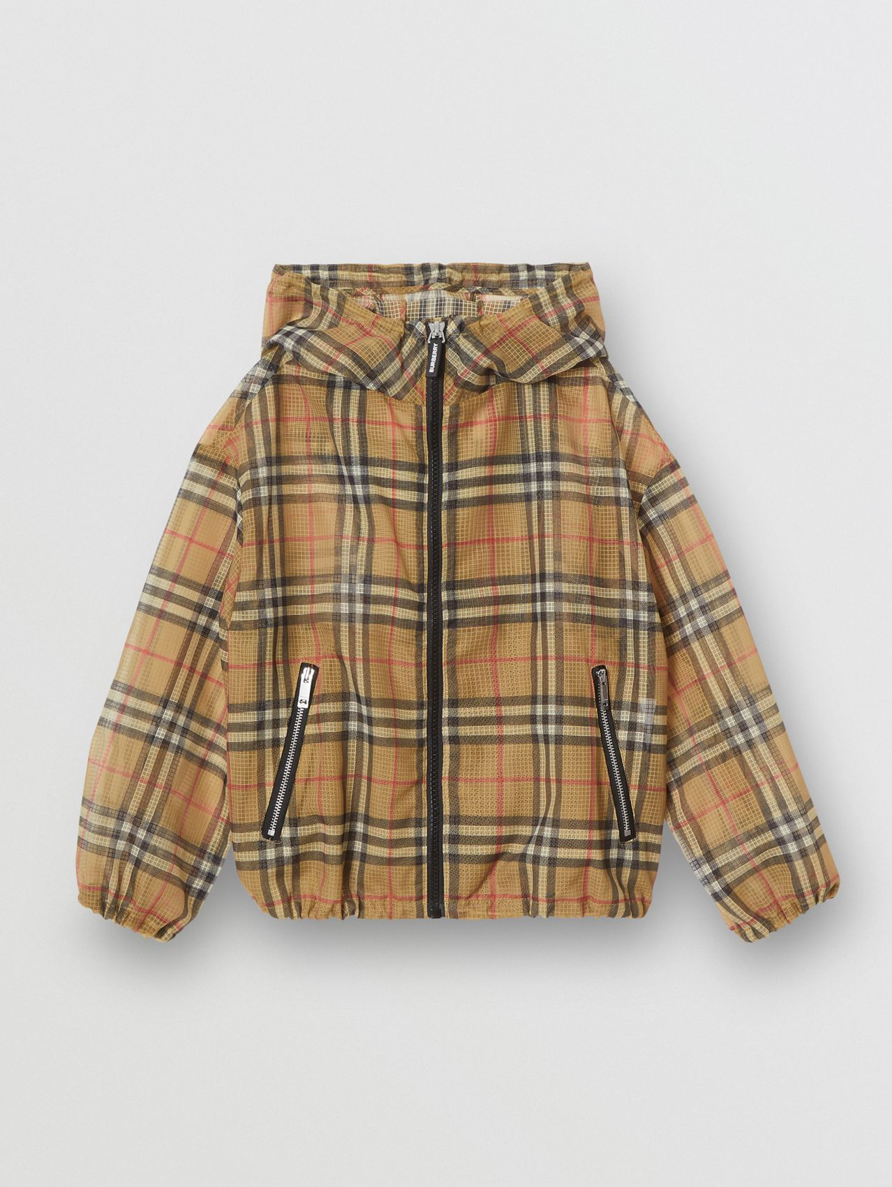 Lightweight Vintage Check Hooded Jacket in Antique Yellow
