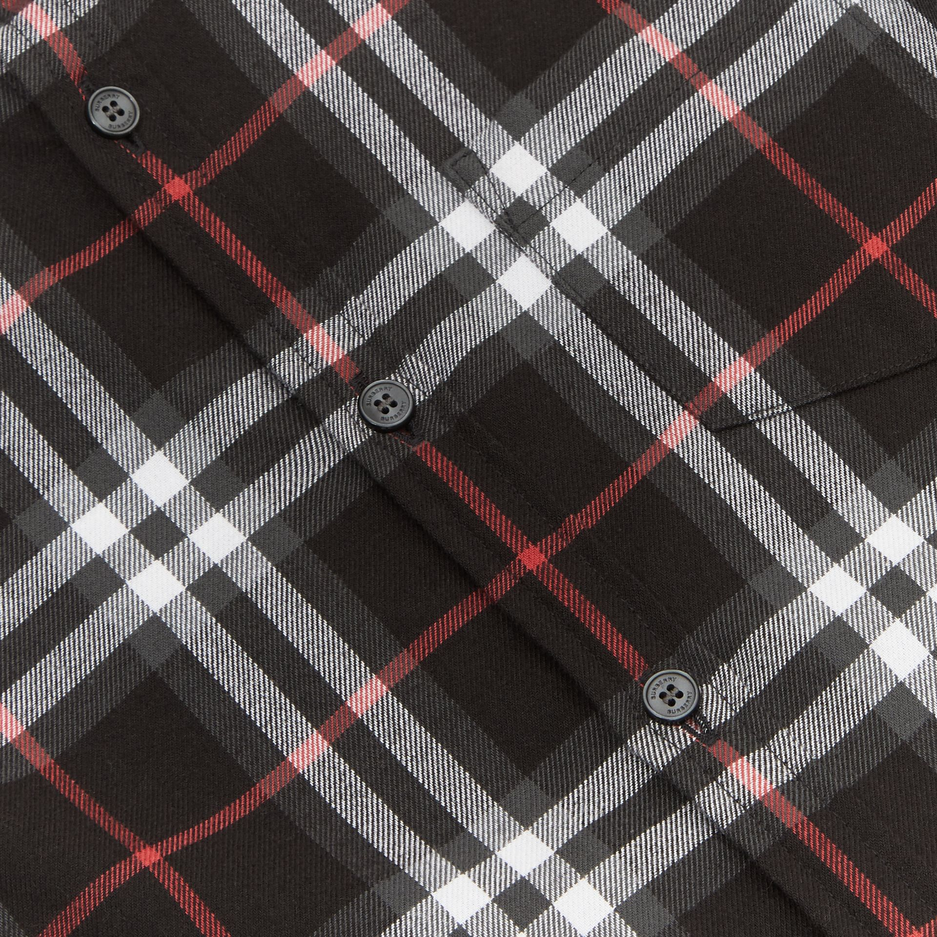 Vintage Check Cotton Flannel Shirt in Black | Burberry - gallery image 1
