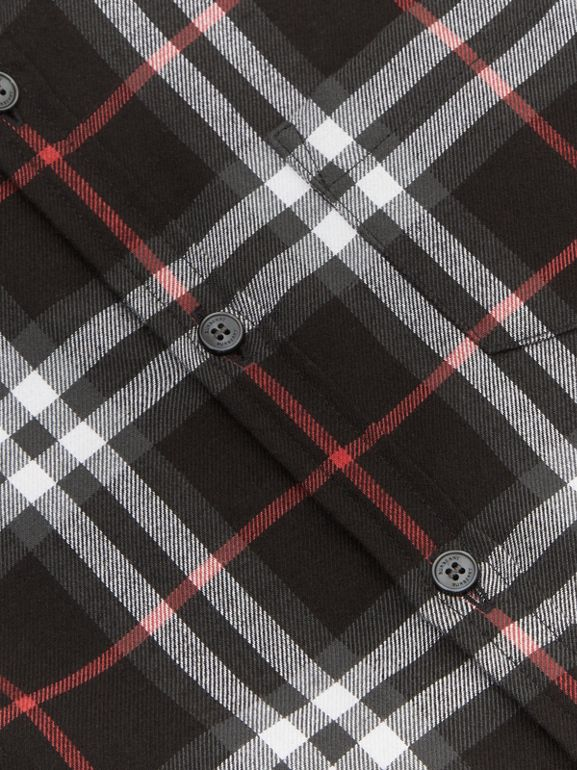 Vintage Check Cotton Flannel Shirt in Black | Burberry - cell image 1