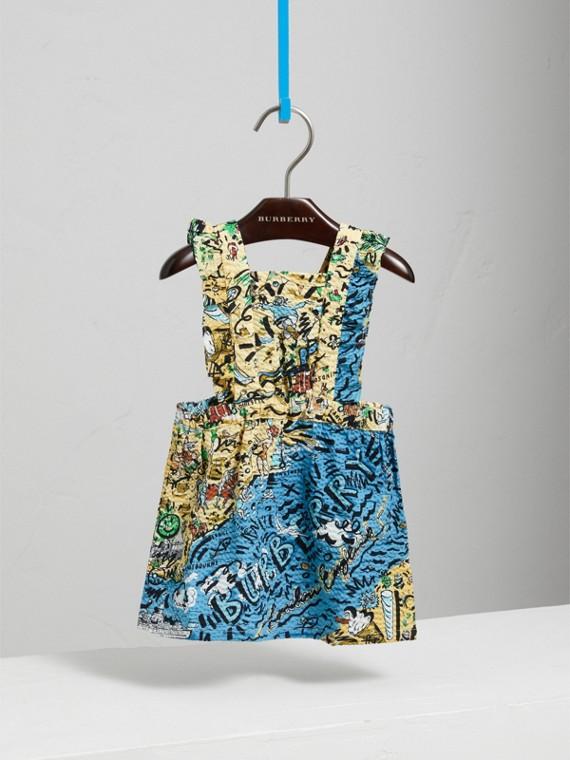 Seaside Print Seersucker Dress in Sand | Burberry United Kingdom - cell image 2