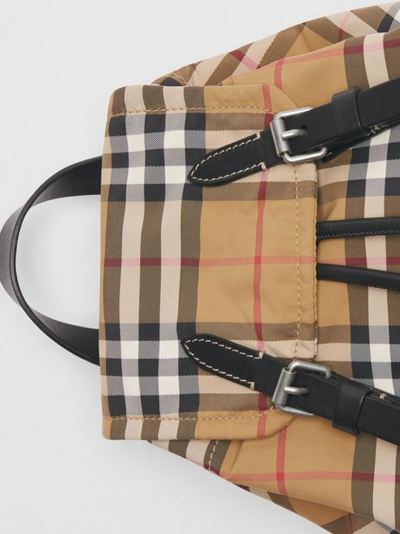 The Small Crossbody Rucksack in Vintage Check in Antique Yellow - Women | Burberry - cell image 1