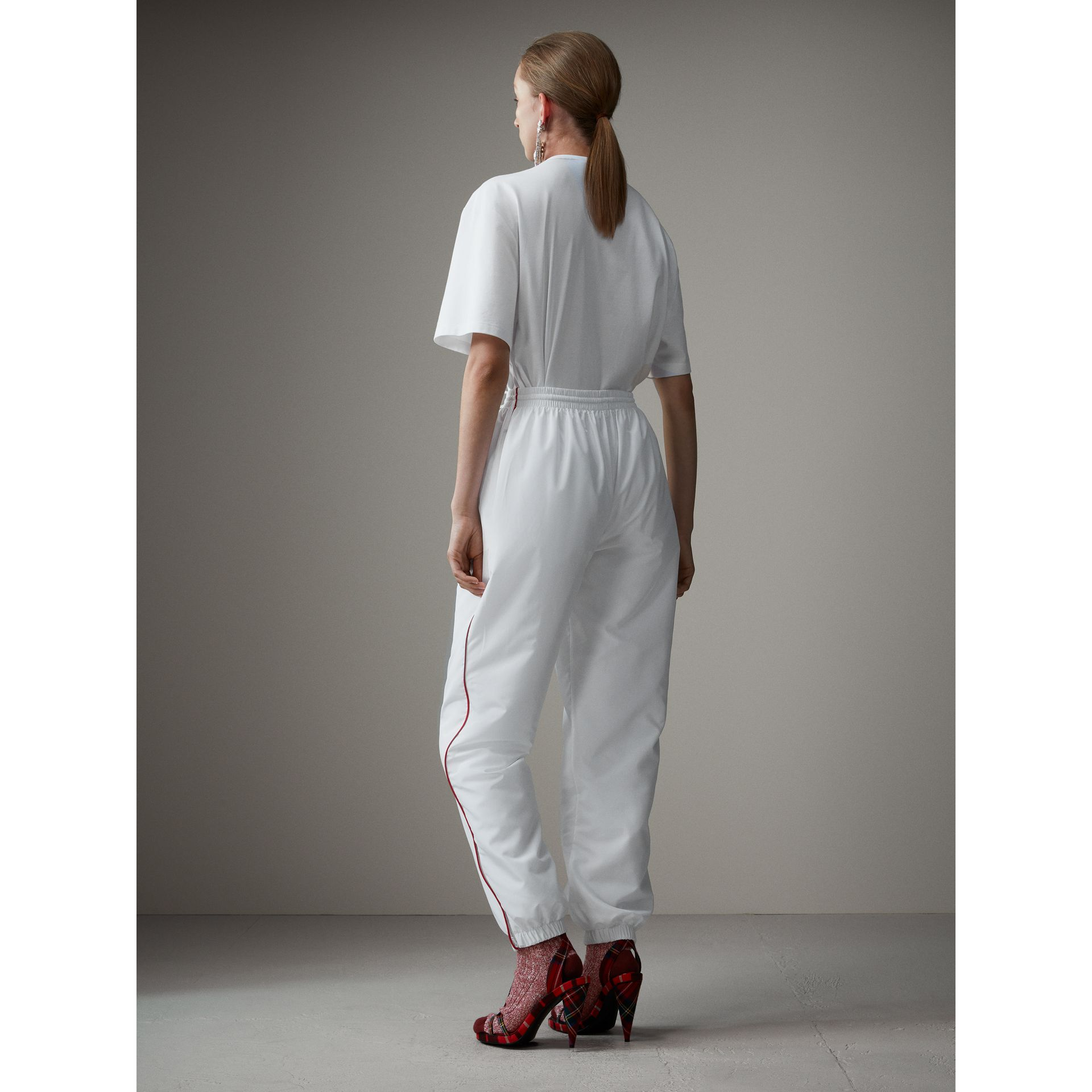 Contrast Piping Poplin Track Pants in White - Women | Burberry - gallery image 2