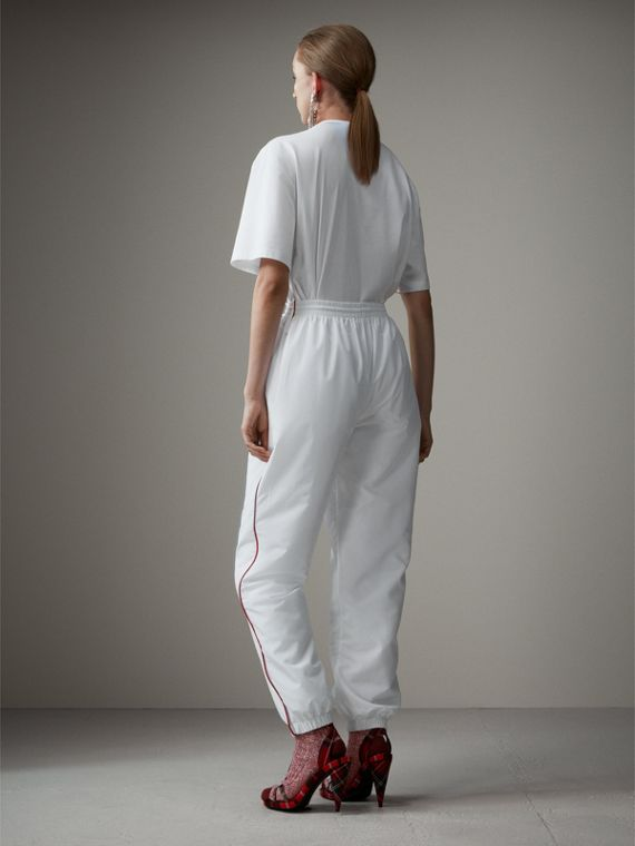 Contrast Piping Poplin Track Pants in White - Women | Burberry Singapore - cell image 2