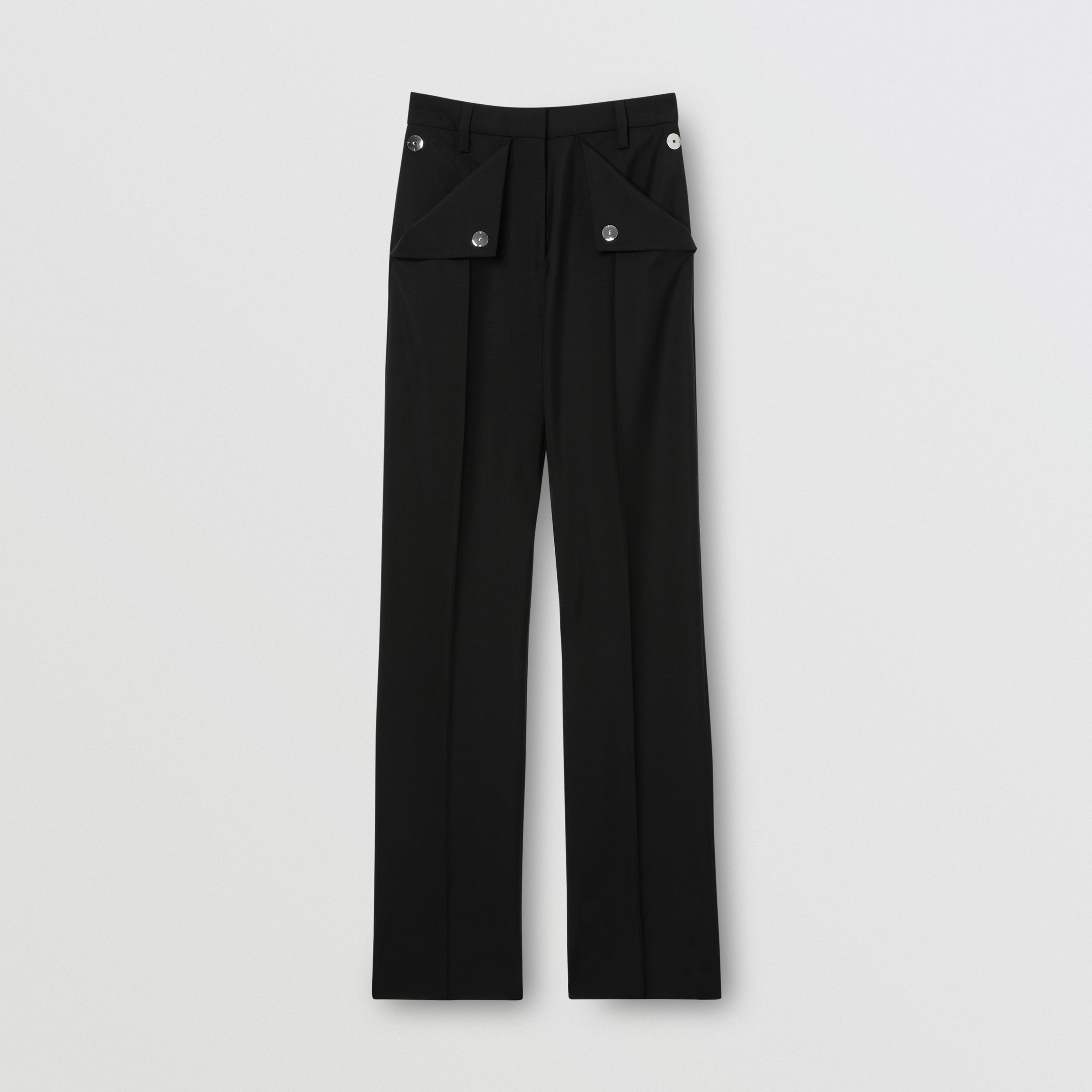 Pocket Detail Wool Mohair Tailored Trousers in Black - Women | Burberry - 4
