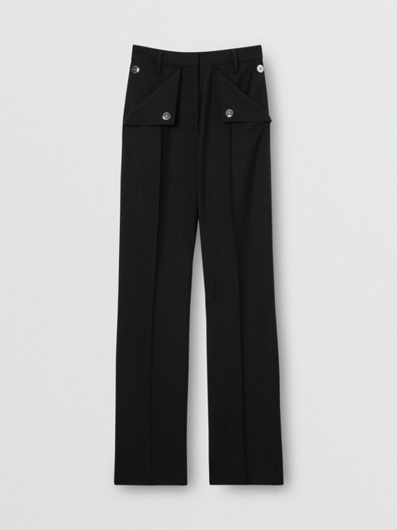 Pocket Detail Wool Mohair Tailored Trousers in Black