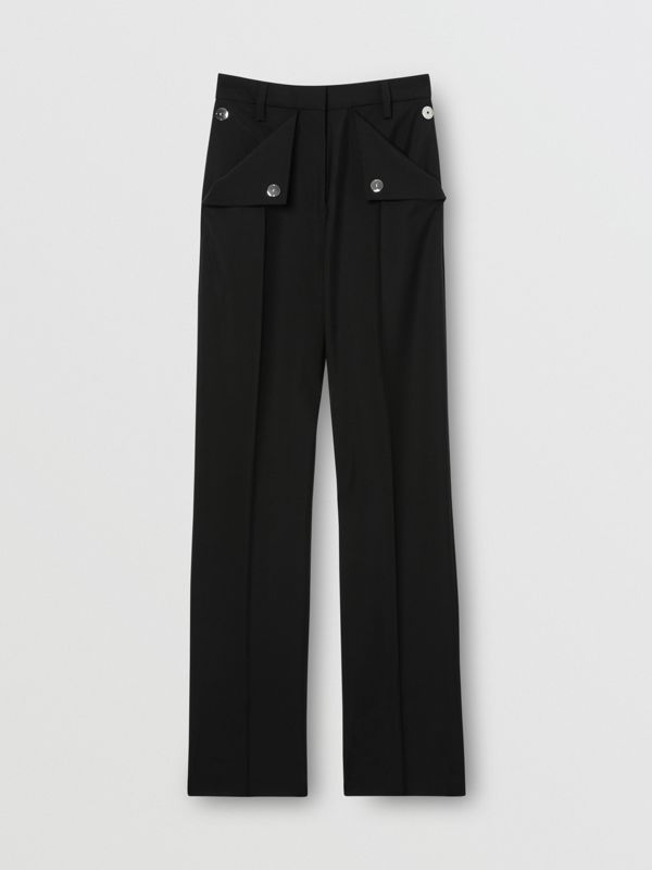 Pocket Detail Wool Mohair Tailored Trousers in Black - Women | Burberry Singapore - cell image 3