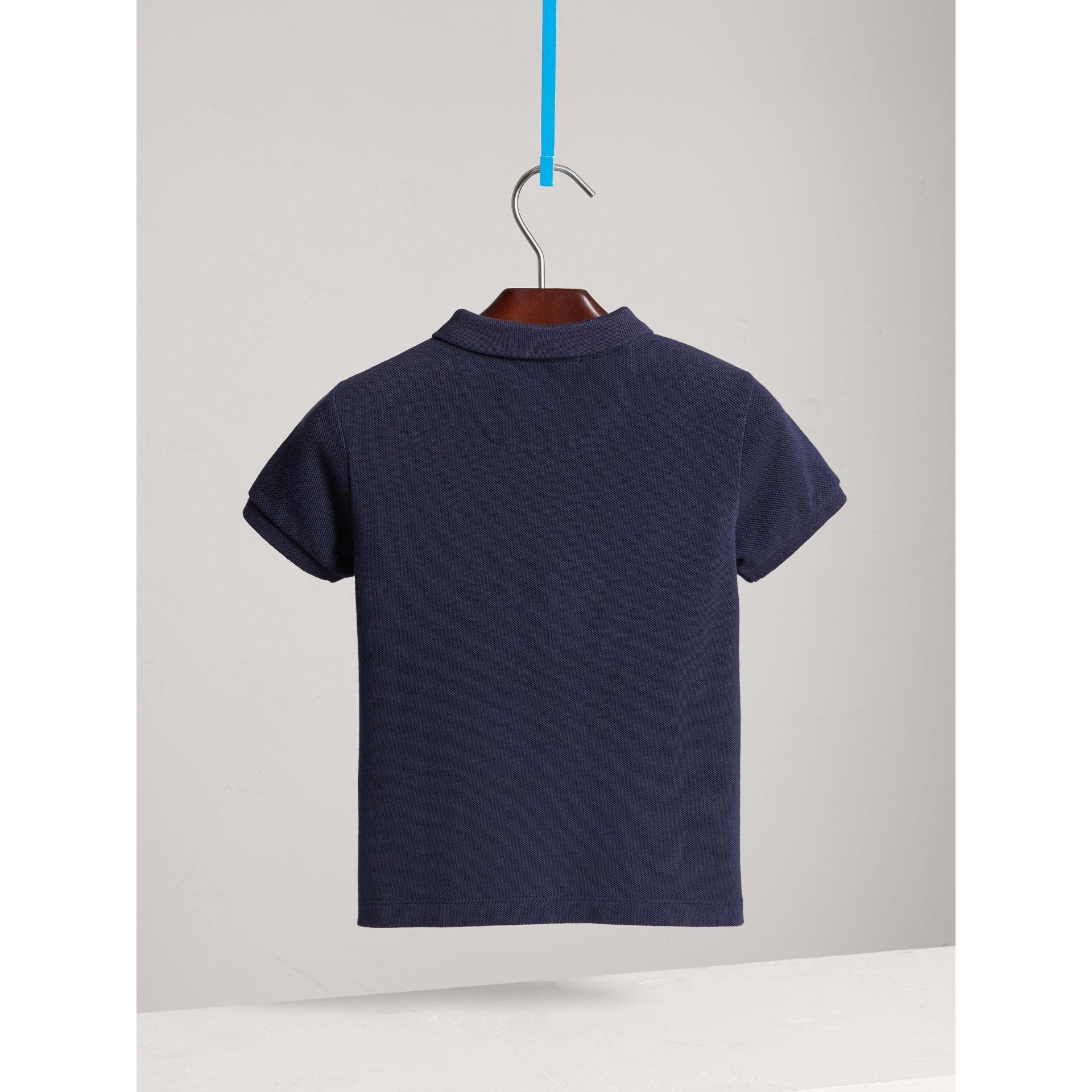 Check Placket Polo Shirt in True Navy - Boy | Burberry United Kingdom - gallery image 3