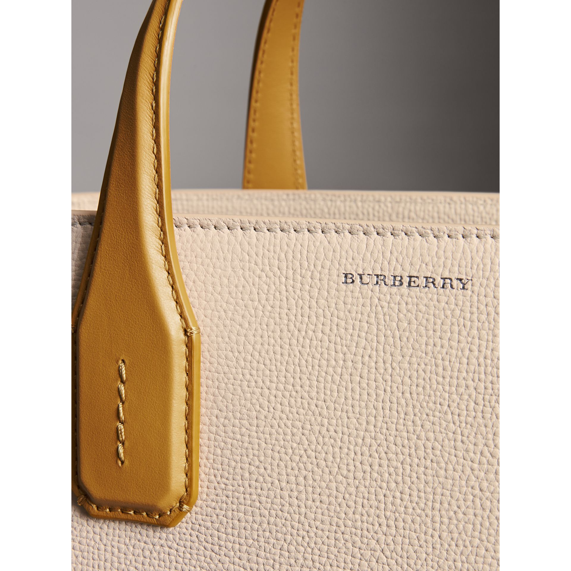 The Medium Banner in Two-tone Leather in Limestone/cornflower Yellow - Women | Burberry United Kingdom - gallery image 1