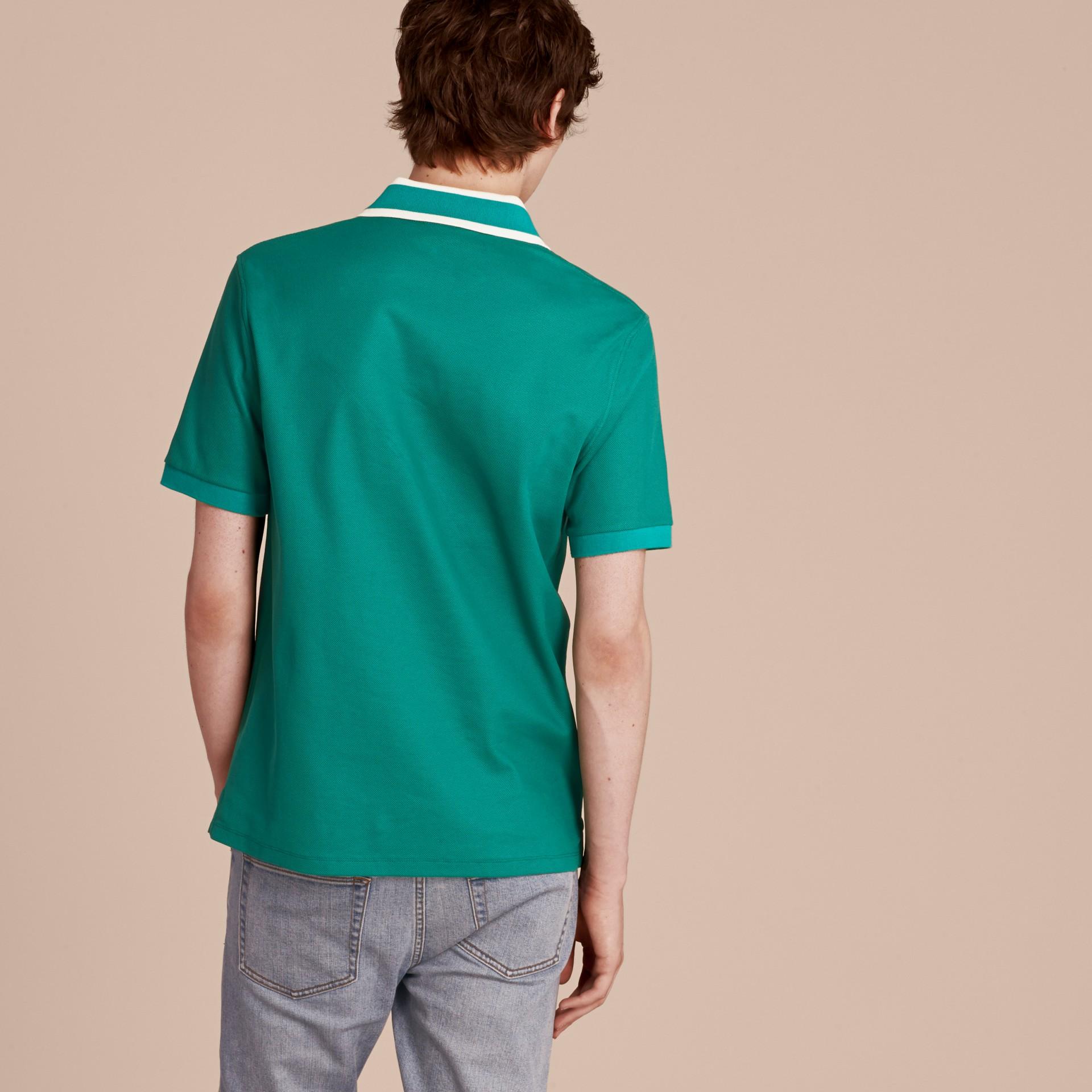 Striped Collar Cotton Piqué Polo Shirt Viridian Green - gallery image 3