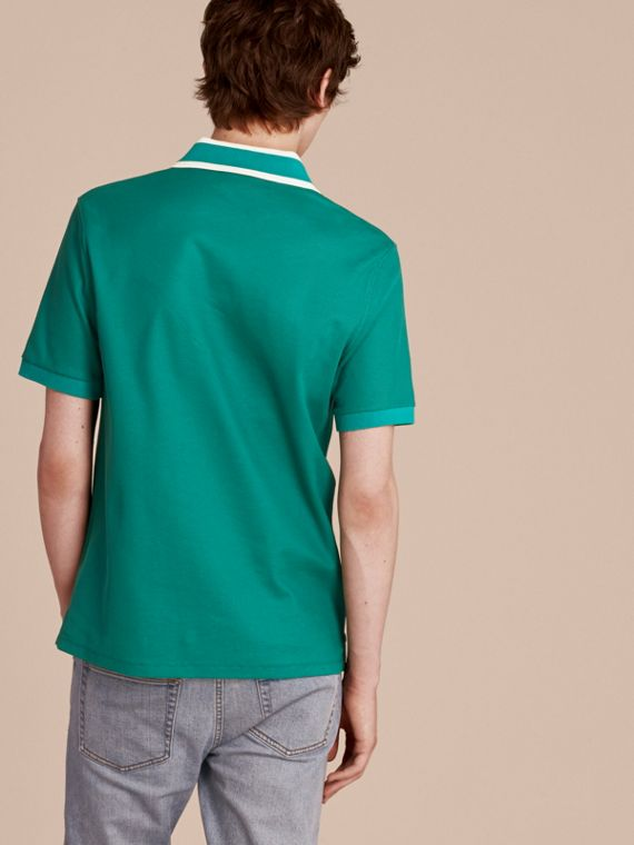 Striped Collar Cotton Piqué Polo Shirt Viridian Green - cell image 2