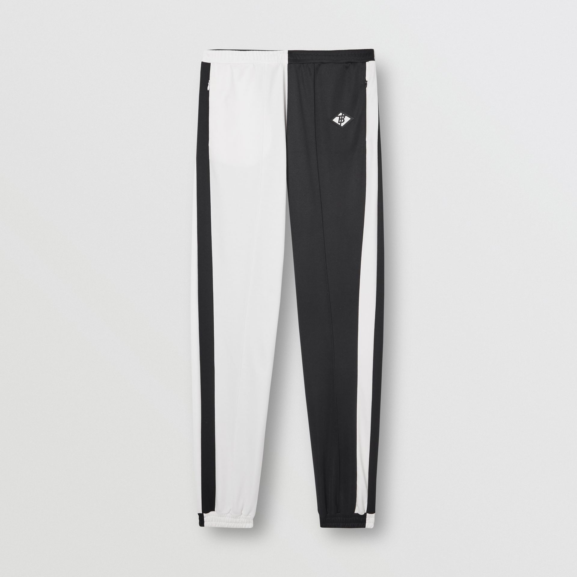Logo Graphic Two-tone Jersey Trackpants in Black - Men | Burberry United Kingdom - gallery image 3