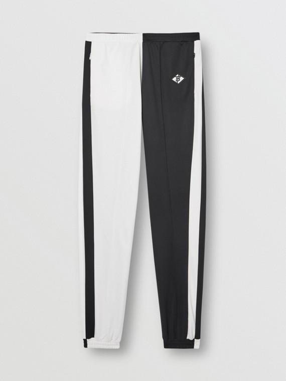 Track pants de malha em dois tons com logotipo (Preto)