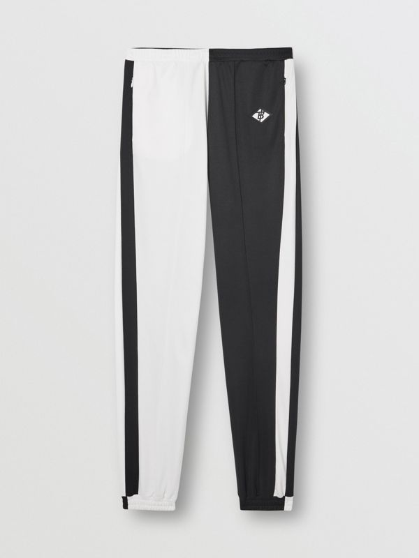 Logo Graphic Two-tone Jersey Trackpants in Black - Men | Burberry United Kingdom - cell image 3