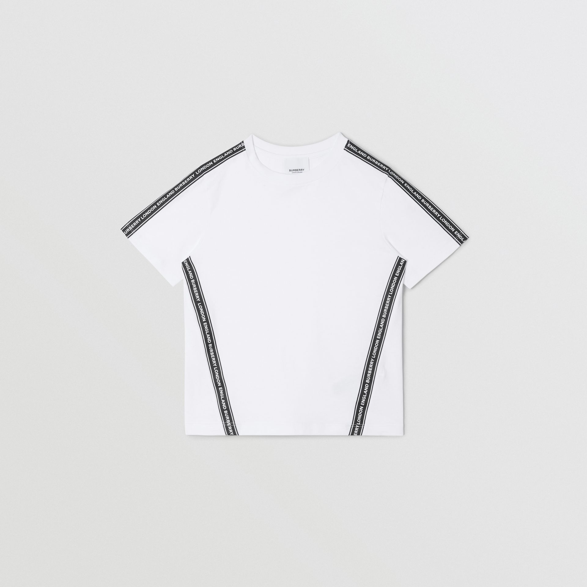 Logo Tape Cotton T-shirt in White | Burberry United Kingdom - gallery image 0