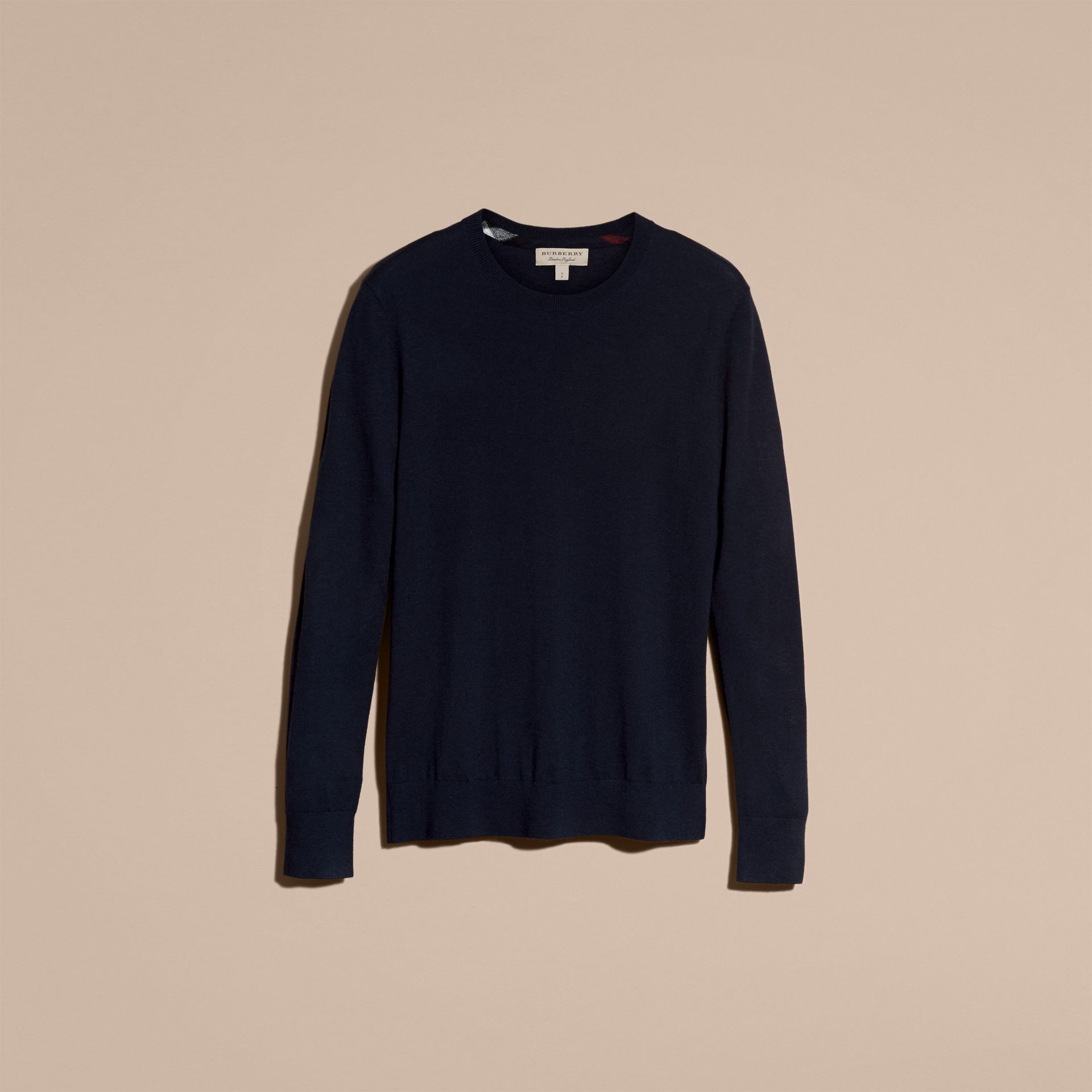 Lightweight Crew Neck Cashmere Sweater with Check Trim Navy - gallery image 4
