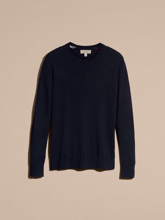 Lightweight Crew Neck Cashmere Sweater with Check Trim Navy - cell image 3