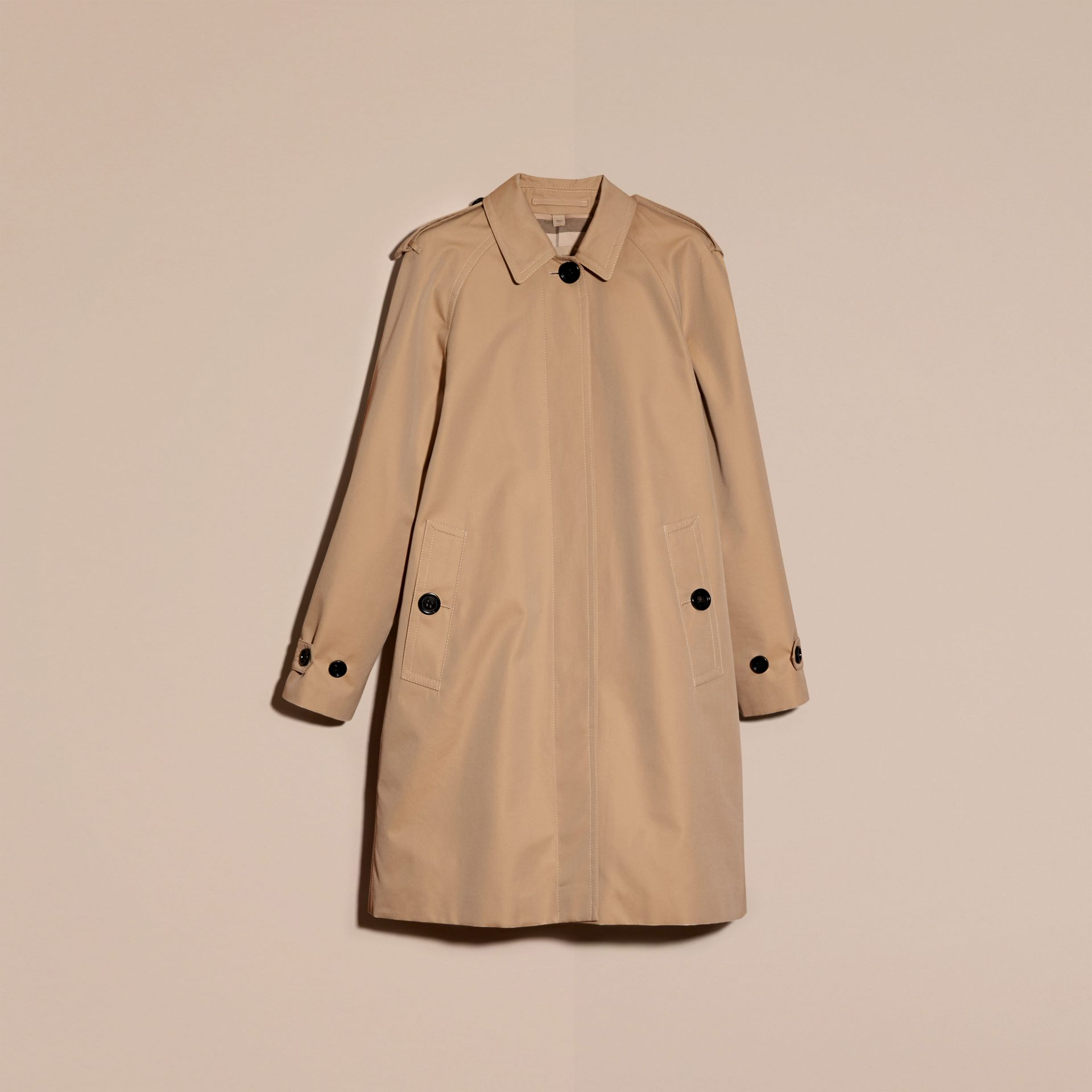 Cotton Gabardine A-line Coat - gallery image 4