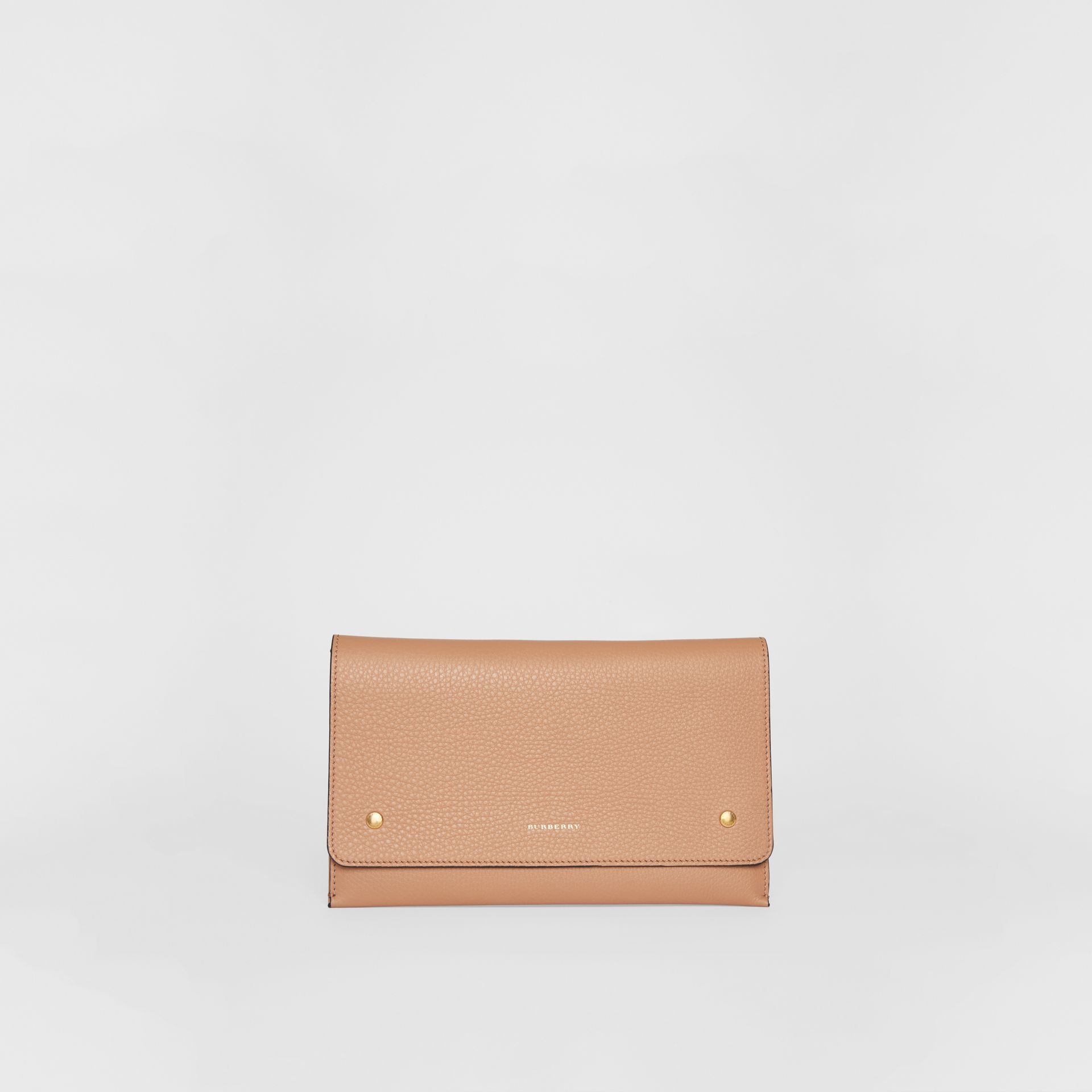 Two-tone Leather Wristlet Clutch in Light Camel - Women | Burberry United Kingdom - gallery image 3