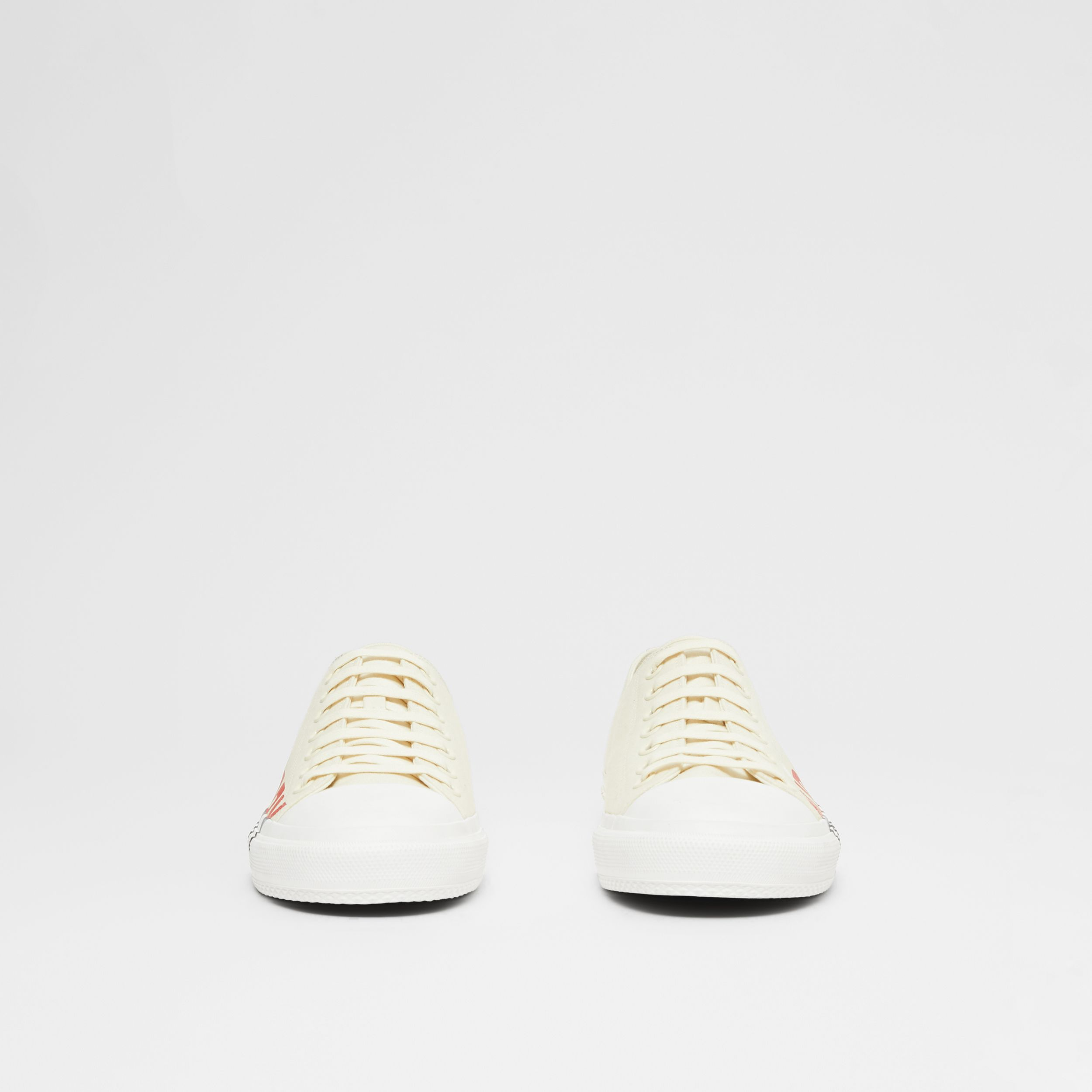 Logo Print Tri-tone Cotton Canvas Sneakers in Cream - Men | Burberry - 4