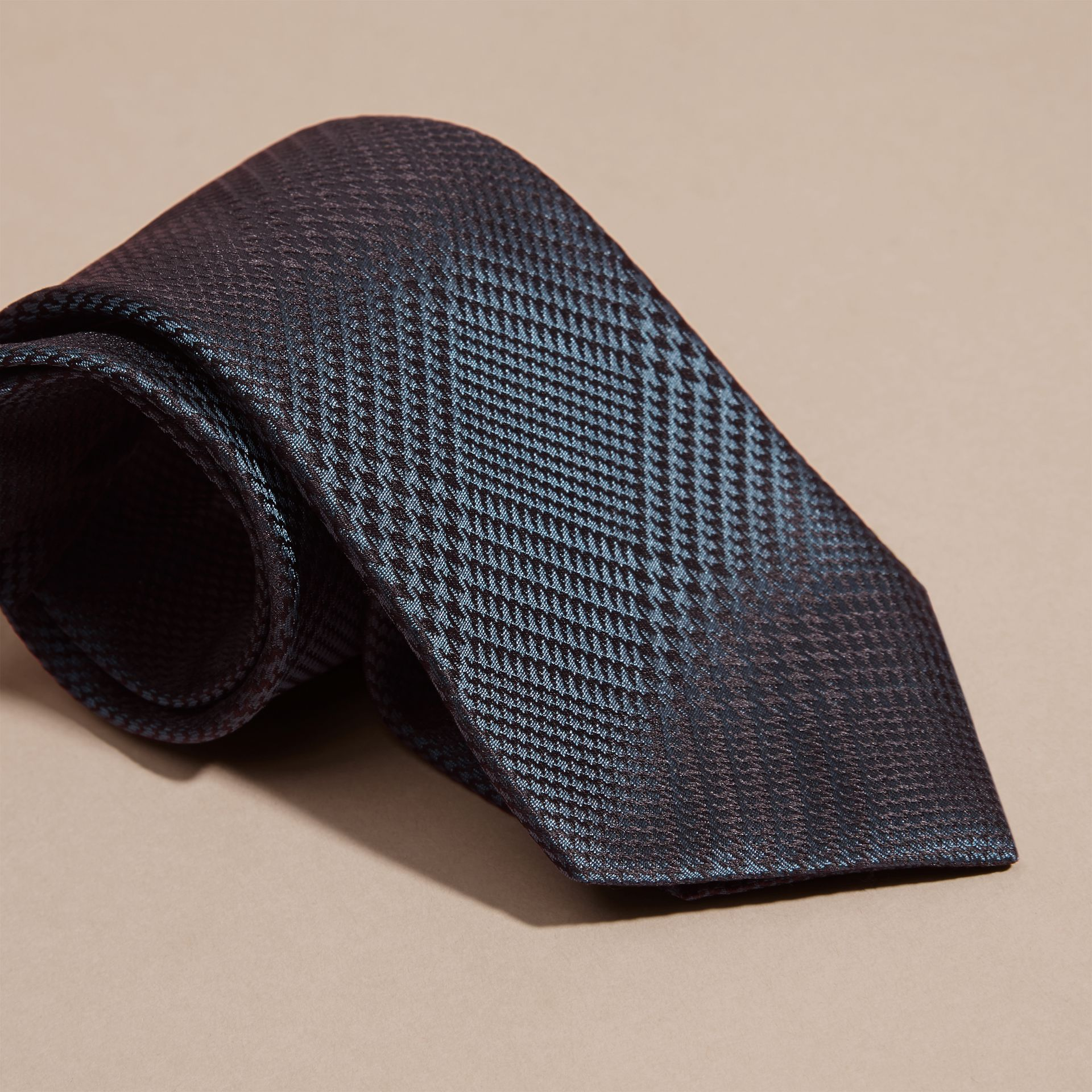 Modern Cut Check Silk Tie in Storm Blue - gallery image 2
