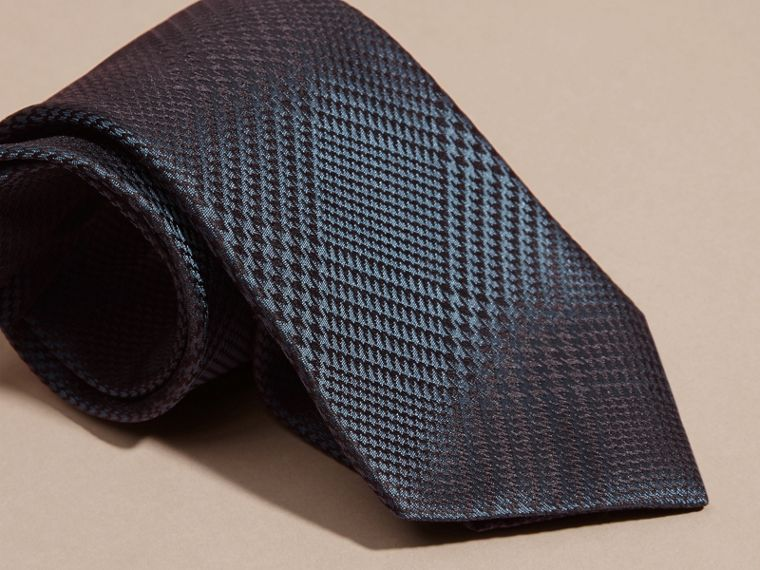 Modern Cut Check Silk Tie in Storm Blue - cell image 1