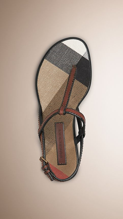 Dark tan Canvas Check and Leather Sandals - Image 1