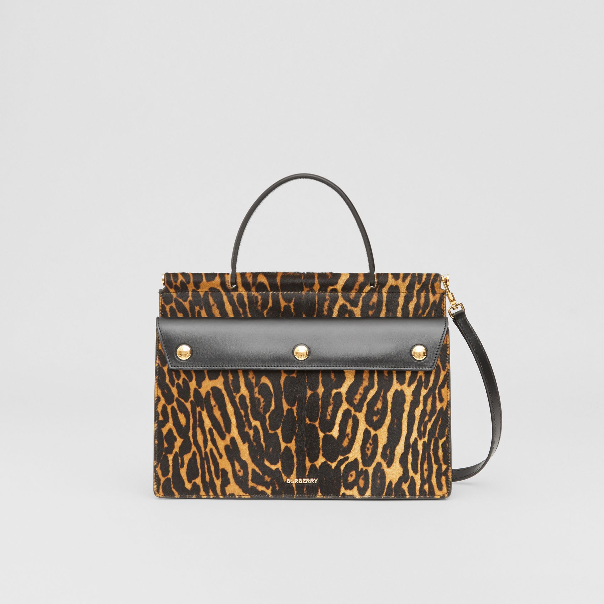 Small Leopard Print Title Bag with Pocket Detail in Black - Women | Burberry United Kingdom - gallery image 0