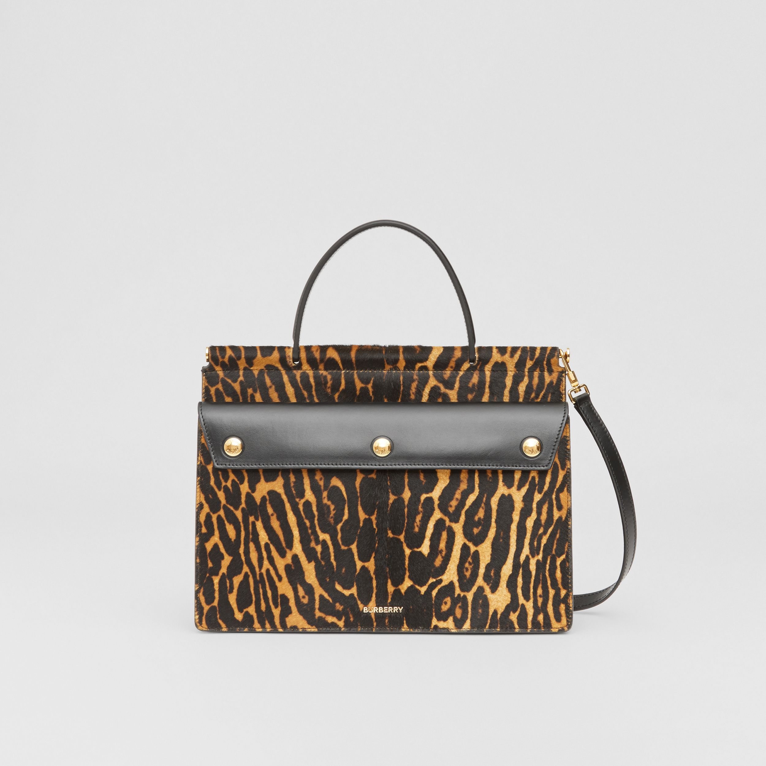 Small Leopard Print Title Bag with Pocket Detail in Black - Women | Burberry - 1